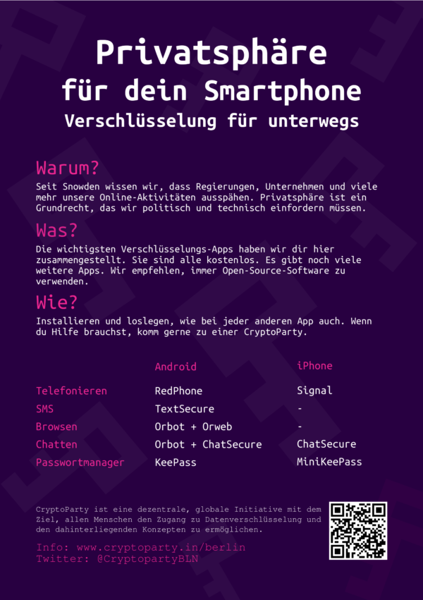 CryptoParty Flyer: Smartphone security